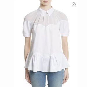 Opening ceremony Peplum Wave Top White Size 2 $295